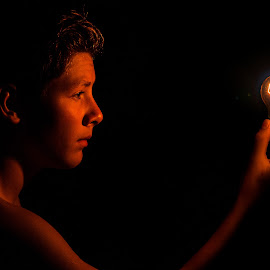 into the light by Deric Herbert - People Portraits of Men ( face, lightbulb, light painting, light, photography,  )