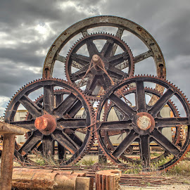 Mechanical Wheels by William Cortes - Artistic Objects Antiques ( machinery, old, wheel, gear, mechanical, rust )
