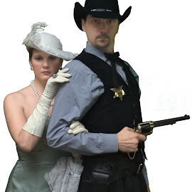 The Sheriff and the Lady by Florin Marksteiner - People Couples ( guns, cowboy, sheriff, pistol, lady, wild west, revolver )