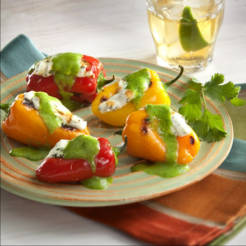 Sweet Mini Peppers Stuffed with cream cheese