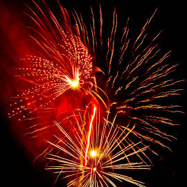 Fire Red by Brenda Hooper - Abstract Fire & Fireworks ( abstract, 4th of july, fireworks, celebrate, independence day, fire,  )