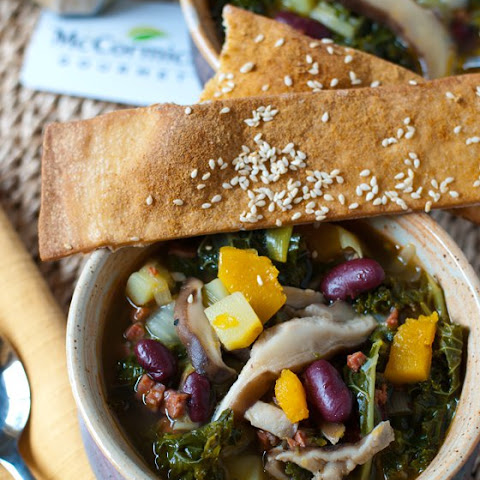 Kale and Shiitake Mushroom Soup with Ginger Sesame Lavash Crackers