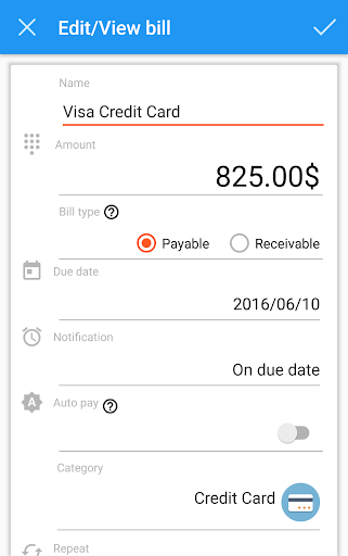 Easy Bills Reminder - screenshot