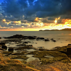 by Khenny Christian - Landscapes Sunsets & Sunrises ( sky, sunset, stone, beach, landscape )