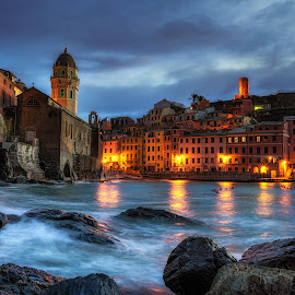 Vernazza Night by Aaron Choi - Landscapes Travel ( water, home, riviera, cinque terre, italian, harbor, europe, vernazza, tourism, architectural detail, ocean, travel, architecture, house, beach, coastal, coast, dock, winter, european, village, liguria, italy, city at night, street at night, park at night, nightlife, night life, nighttime in the city,  )