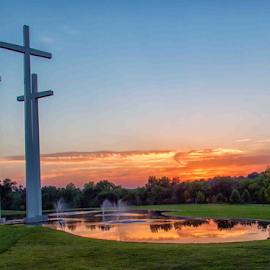 Three Crosses by Michael Buffington - Buildings & Architecture Statues & Monuments ( church, sunset, crosses, pond, cross )