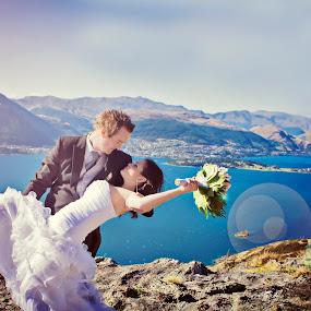 Queenstown Wedding Landscape by Karissa Best - Wedding Bride & Groom ( glamour, queenstown, wedding, bride, landscape, romance, groom, photography )