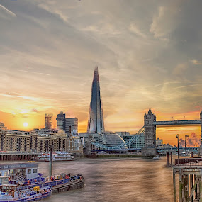 London Summer Time by Balazs Romsics - Buildings & Architecture Public & Historical ( the shard, sky, london, riverside, tower bridge, summer )