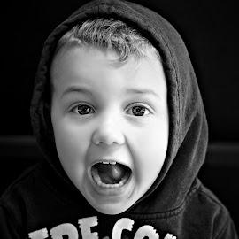 Wow!  ( Rui 4 years) by Pieter J de Villiers - Black & White Portraits & People