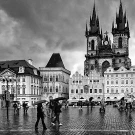 Raining by Jose Maria Vidal Sanz - City,  Street & Park  Street Scenes ( black and white, czech republic, travel, prague, rain )