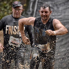 Quickly As Possible Out Of The Cold Water ! by Marco Bertamé - Sports & Fitness Other Sports ( water, splatter, differdange, splash, 2015, number, soup, luxembourg, 2224, muddy, two, 2223, cold, strong, brown, strongmanrun, duel, man )