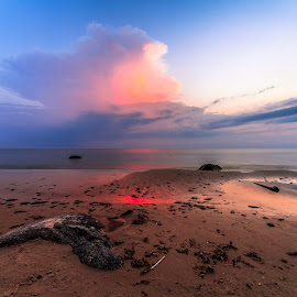 Red Sails by Ruslan Bolgov - Landscapes Sunsets & Sunrises ( sand, red, blue, colors, sunset, lithuania, beach, stones )