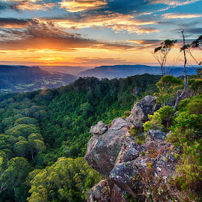 Wattamolla Sunset by Andy Hutchinson - Landscapes Mountains & Hills