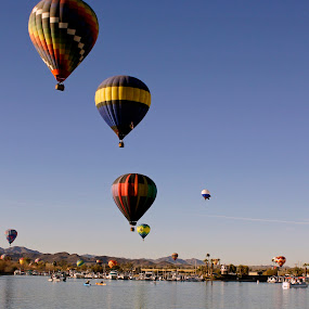 Flght Over River by Tina Hailey - Transportation Other ( hot air balloon, lake, river,  )