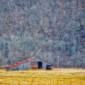 The Blushing Barn Barks by Allen Crenshaw - Painting All Painting ( barn, rural life, art, painting, impressionism, arkansas )