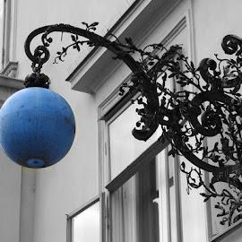 blue lamp by Miroslav Bičanić - City,  Street & Park  Neighborhoods ( facade, blue, street, lamp, light )