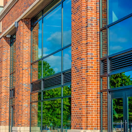 Brick And Reflections by George Cole - Buildings & Architecture Architectural Detail ( abstract, building, washington state, reflection, brick, outdoors, renton, front, windows, scenery, architecture )