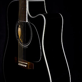 Acoustic 12  5977 by Karen Celella - Artistic Objects Musical Instruments ( music, light painting, low key, guitar, instrument )