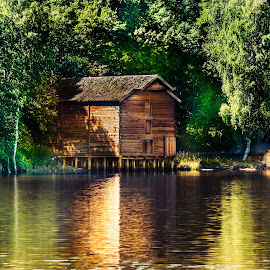 The boathouse by Geir Blom - Buildings & Architecture Public & Historical ( water, old house, reflection, boathouse, sunshine, river )
