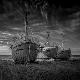 Thorup Strand by Ole Steffensen - Black & White Landscapes ( fishing vessels, ship, sea, beach, denmark, thorup strand )