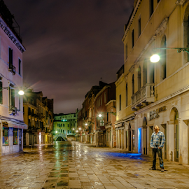 Ilumination! by Jesus Giraldo - City,  Street & Park  Street Scenes ( hauses, concept, colors, street, art, solitude, architecture, shadows, city, lights, urban, venice, night, man )