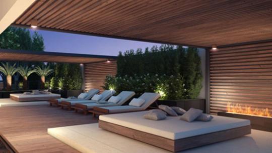 Perspectiva do Espaço Zen com Deck Flutuante e Lareira Ecológica