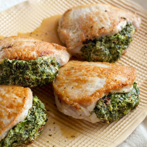 Pork Chops Stuffed with Sun-Dried Tomatoes and Spinach