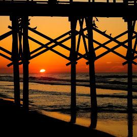 Sunrise at Surf City Pier by Mark Perkins - Landscapes Sunsets & Sunrises