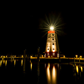 Fara Blanco Lighthouse by Ken Wagner - City,  Street & Park  Historic Districts ( stars, lighthouse, long exposure, night, marina )