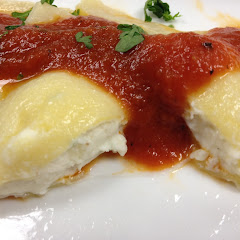 Gluten Free Ravioli, handmade with almond flour and yard eggs.