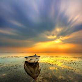 Morning Glory by Choky Ochtavian Watulingas - Landscapes Sunsets & Sunrises ( clouds, seashore, seaweeds, clouds and sea, reflections, long exposure, seascape, sunrise, boat )