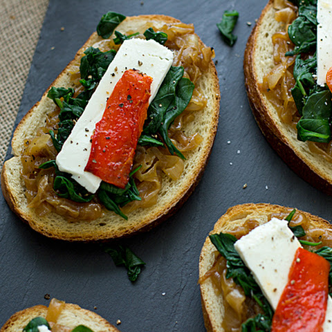 Open-Faced Sandwich of Spinach, Caramelized Onions, and Roasted Peppers