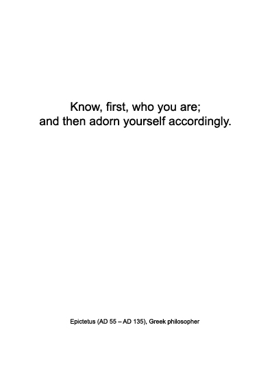 Fashion quote | Epictetus on identity and look | Warmenhoven & Venderbos blog