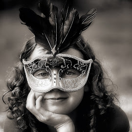 Masked Girl by Sandy Considine - Black & White Portraits & People ( mask, young girl, curly hair )