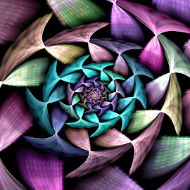 Fractal Gear Spiral by Peggi Wolfe - Illustration Abstract & Patterns ( abstract, wolfepaw, unique, pattern, gear, color, illustration, spiral, fractal, digital )