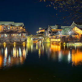 Wuzhen by Crispin Lee - Buildings & Architecture Homes ( lights, colourful, waterscape, street, travel, landscape, nightscape )