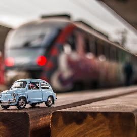 Fiki & train by Mario Horvat - Artistic Objects Toys ( blurred, toy, railway station, train, fiat )