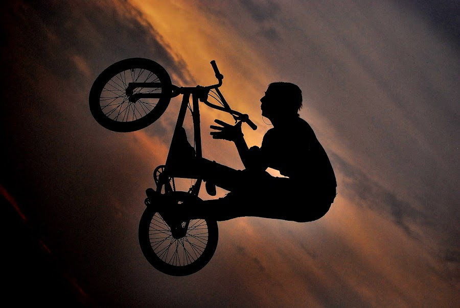 Feel the sky by Adrienn Liker - Sports & Fitness Cycling ( cyclist, biker, sunset, bmx, sport, trick )