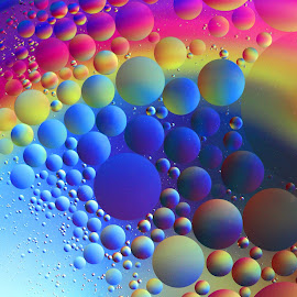 Ellipses by Janet Herman - Abstract Macro ( abstract, oil and water, macro, colors, ellipses, floating, reflections, orbs )