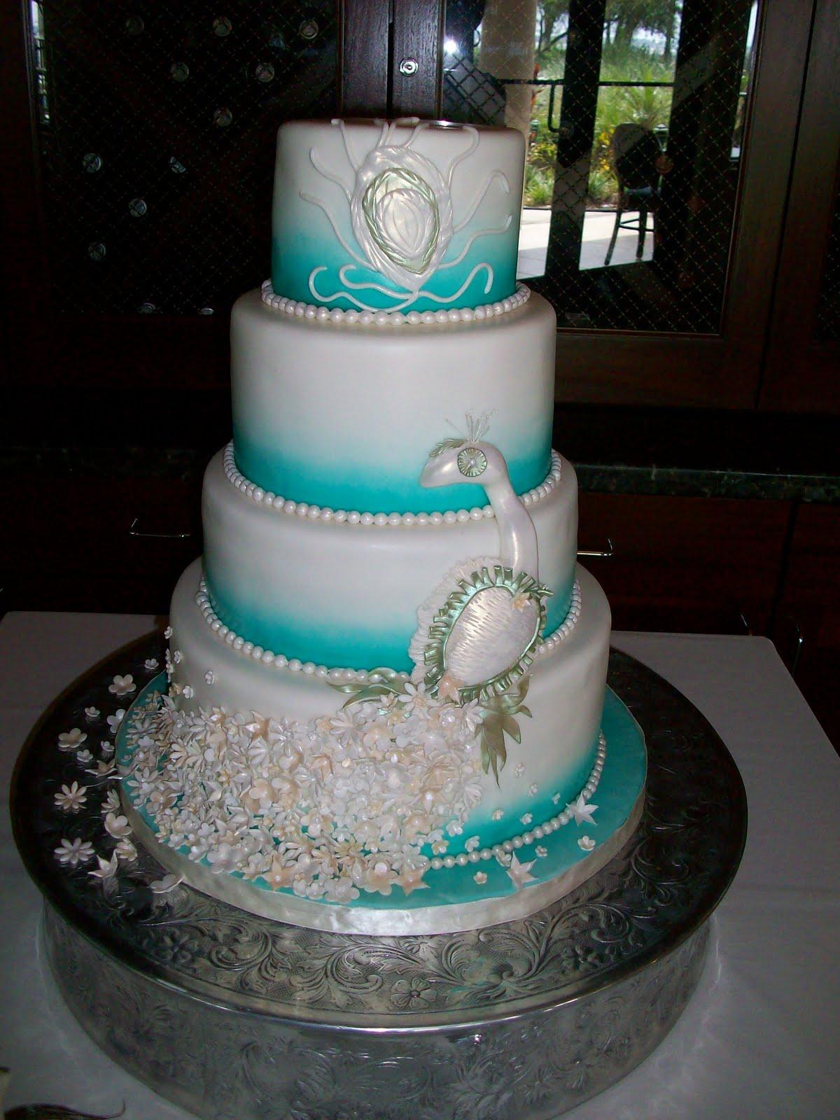 Peacock n aqua wedding themeQuinceanera Peacock Cake
