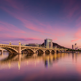 Radiant Sunset by Bryan Snider - Landscapes Sunsets & Sunrises ( clouds, arizona sunset, reflection, tempe, sky, colors, sunsets, sunset, arizona, buildings, reflections, bridge,  )
