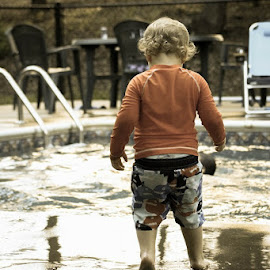 Puddle fun at the pool by Teresa Solesbee - Babies & Children Toddlers ( child, pool, summer, toddler )