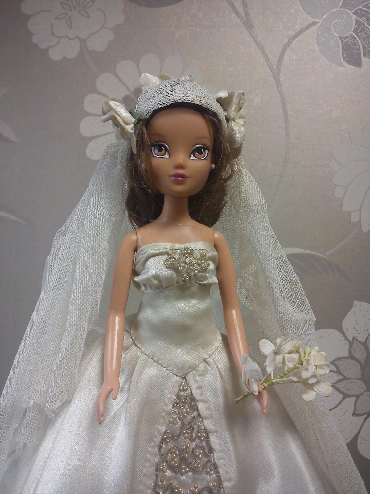 Ivory satin vintage dolls