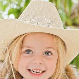 Happy Cowgirl by Laurette van der Merwe - Babies & Children Child Portraits ( girls, blonde, child portraits, blue eyes, child photography, children, smiles )