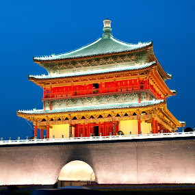 Bell Tower in Xi`an by Jakub Juszyński - Buildings & Architecture Public & Historical ( bell, tower, xian, night, china )