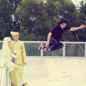 Post wedding at the skatepark by Md Azin - Wedding Bride & Groom