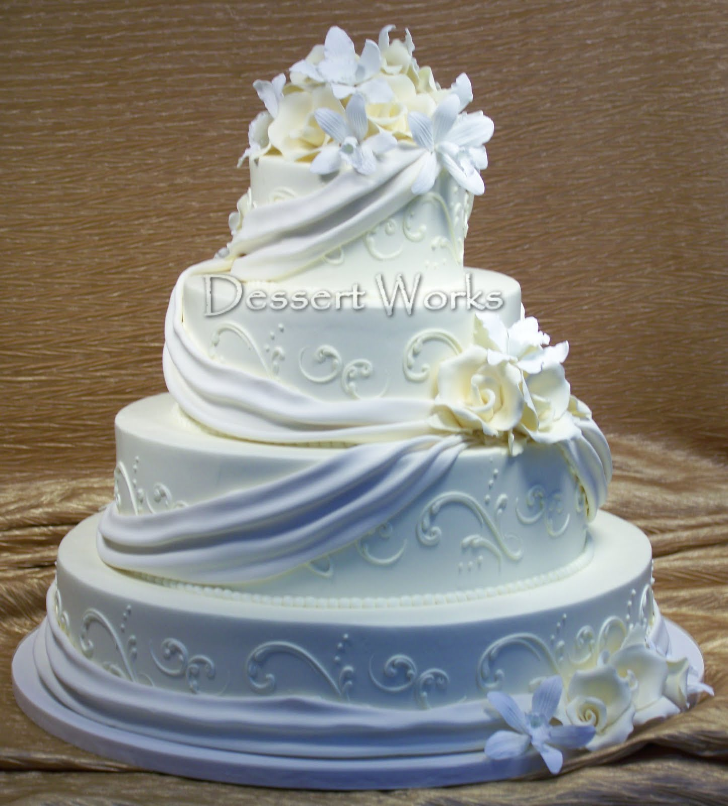 white ivory wedding cake
