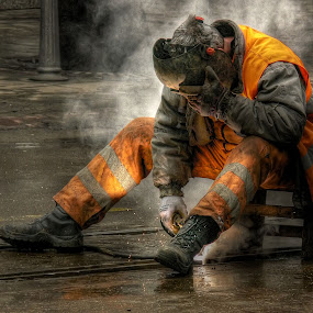 The Worker by Petko Slavov - People Street & Candids ( colour, work, working., hdr, street, worker, sofia, man, bulgaria )