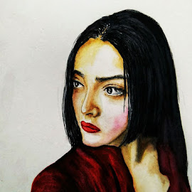 Lady by Samriddhi Dutta - Painting All Painting ( potrait, lady, painting, watercolour )