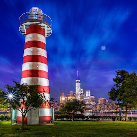 Newport Lighthouse Park by Arnab Dutta - City,  Street & Park  City Parks ( manhattan skyline, park, lighthouse, city )